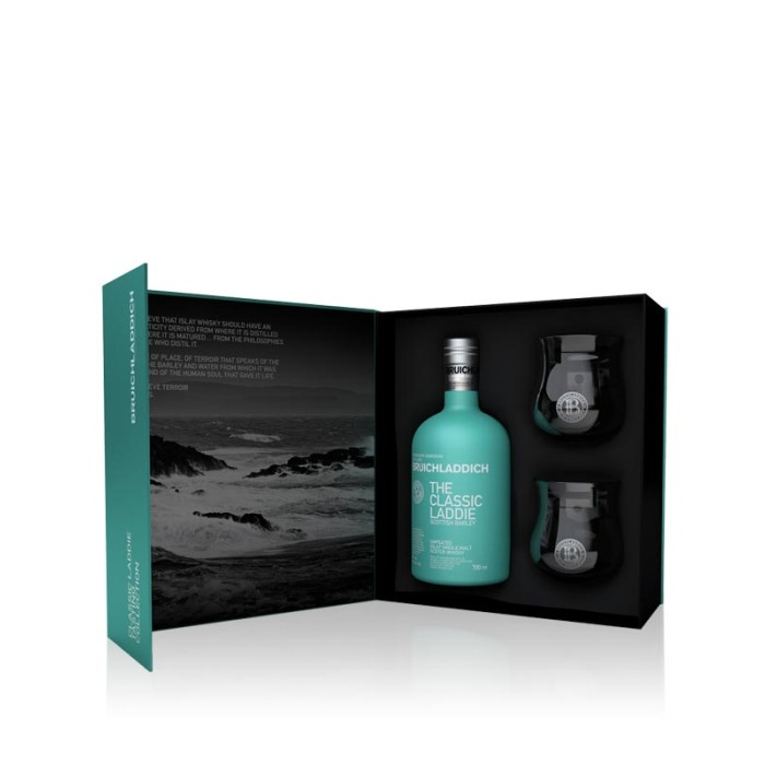 Bruichladdich The Classic Laddie Scottish Barley Gift Pack with two branded whisky glasses