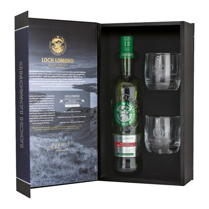 Loch Lomond The Open Special Edition Distiller's Cut with glasses
