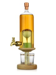 Golf Ball on Tee Decanter with Tap & Two Glasses