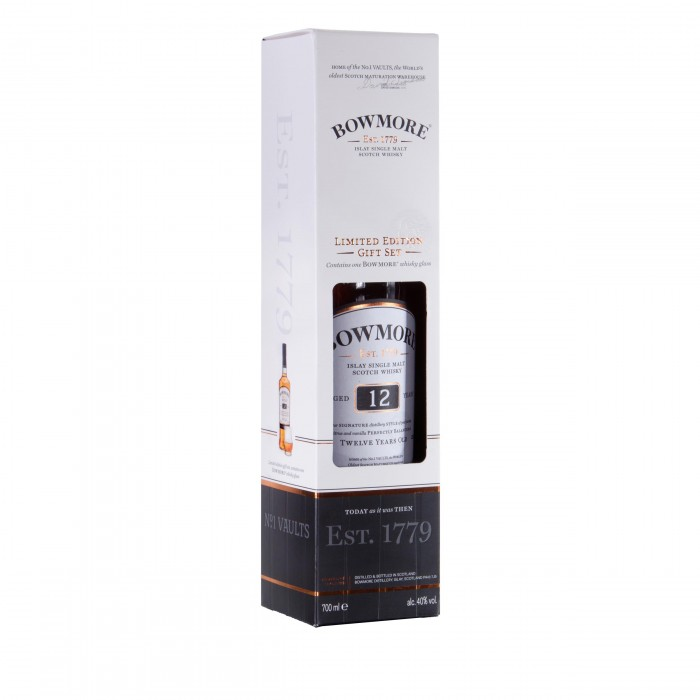 Bowmore 12 Year Old & Single Glass Gift Pack